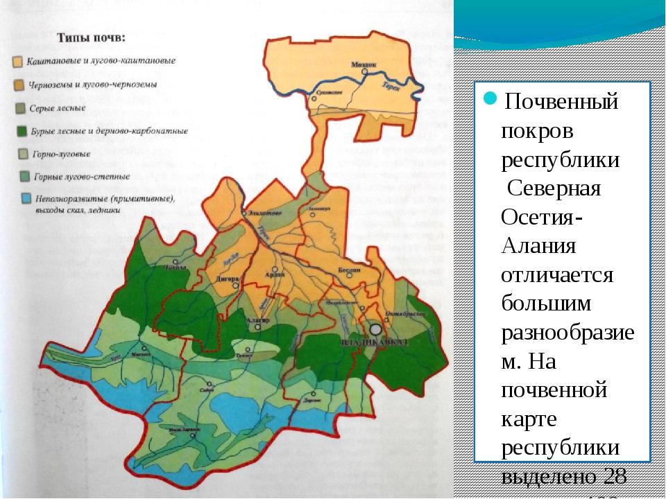 Почвенный покров республики Северная Осетия-Алания отличается большим разноо...