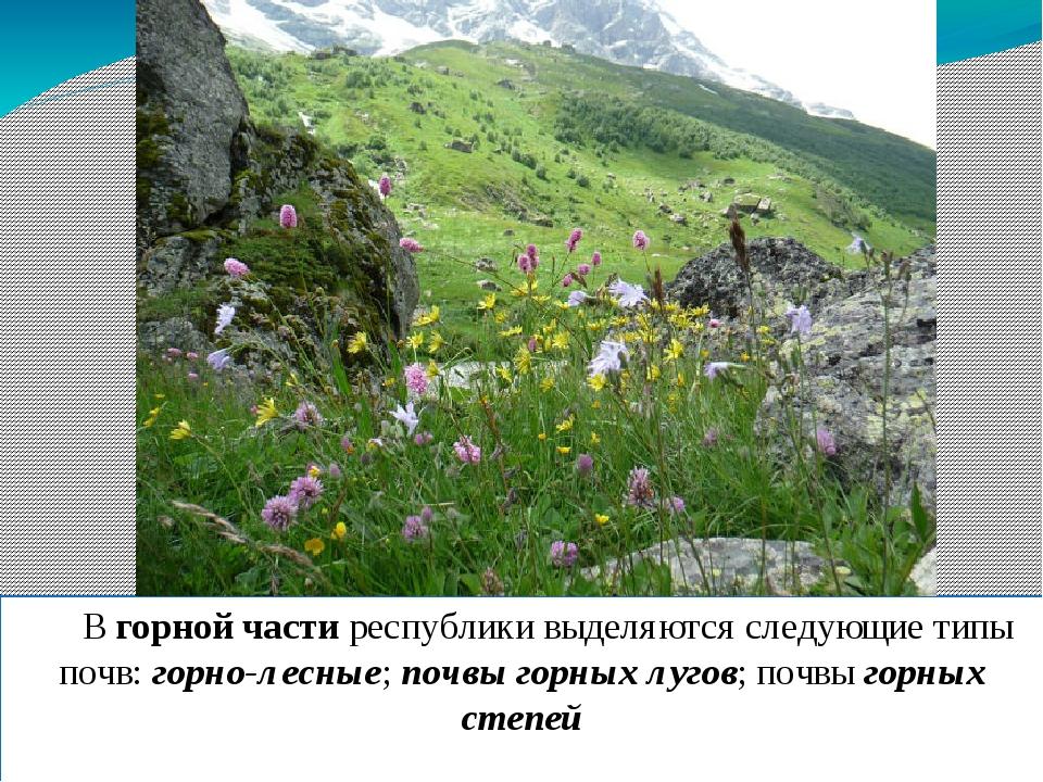 В горной части республики выделяются следующие типы почв: горно-лесные; почв...