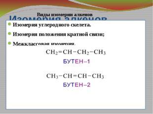 Изомерия алкенов Изомерия углеродного скелета. Изомерия положения кратной свя