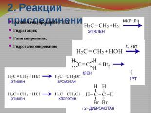 2. Реакции присоединения Реакция гидрирования (+ Н2); Гидратация; Галогениров
