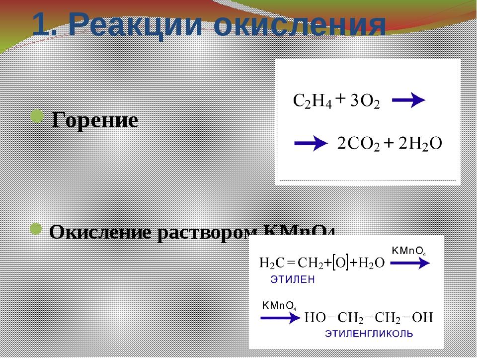 1. Реакции окисления Горение Окисление раствором КMnO4