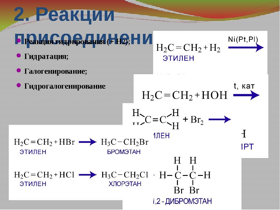 2. Реакции присоединения Реакция гидрирования (+ Н2); Гидратация; Галогениров...
