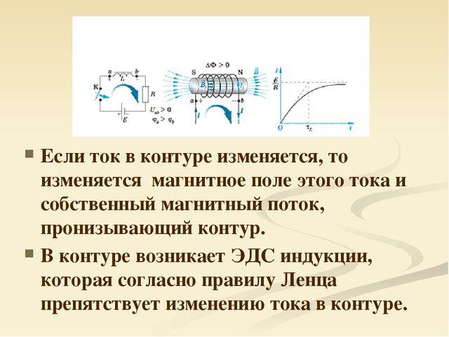 Если ток в контуре изменяется, то изменяется магнитное поле этого тока и собс...