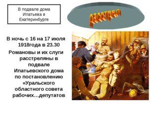 В подвале дома Ипатьева в Екатеринбурге В ночь с 16 на 17 июля 1918года в 23.