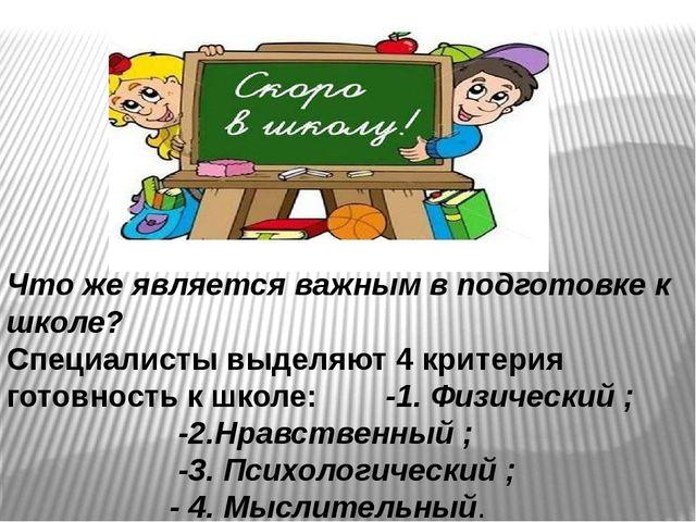 Что же является важным в подготовке к школе? Специалисты выделяют 4 критерия...