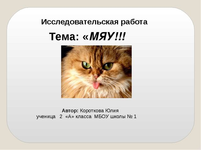 Исследовательская работа Тема: «МЯУ!!! Автор: Короткова Юлия ученица 2 «А» кл...
