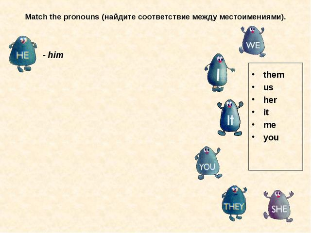 Match the pronouns (найдите соответствие между местоимениями). them us her it...