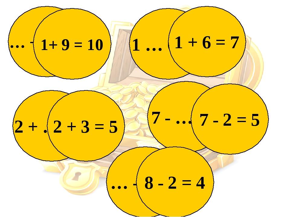 … + 9 = 10 1+ 9 = 10 2 + … = 5 2 + 3 = 5 1 … 6 = 7 1 + 6 = 7 7 - … = 5 7 - 2...