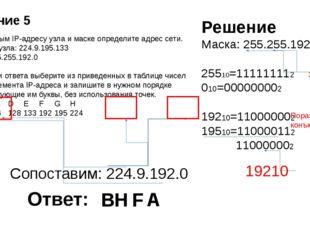 По заданным IP-адресу узла и маске определите адрес сети. IP –адрес узла: 224