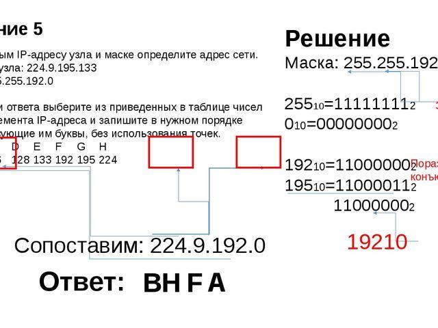 По заданным IP-адресу узла и маске определите адрес сети. IP –адрес узла: 224...