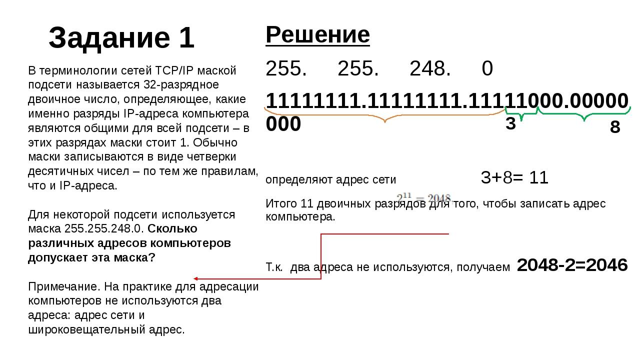 Задание 1 Решение 255.255.248.0 11111111.11111111.11111000.00000000 опр...