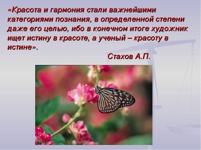 «Красота и гармония стали важнейшими категориями познания, в определенной сте...