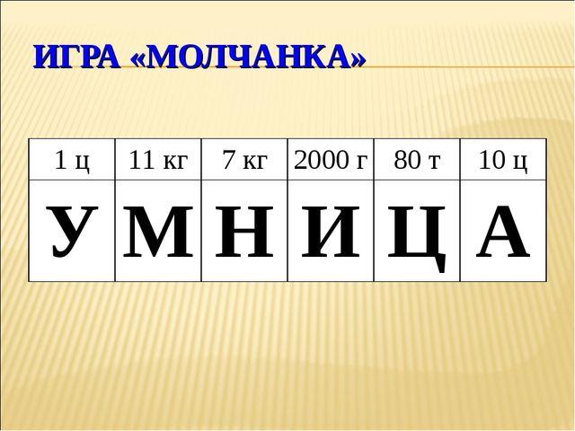 ИГРА «МОЛЧАНКА» 1 ц11 кг7 кг2000 г80 т10 ц УМНИЦА