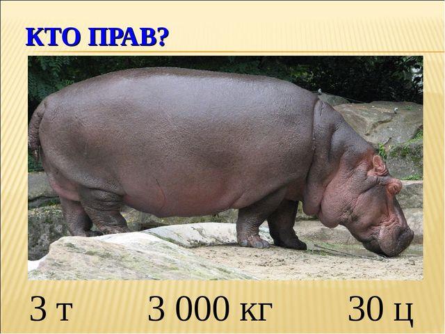 КТО ПРАВ? 3 т 3 000 кг 30 ц