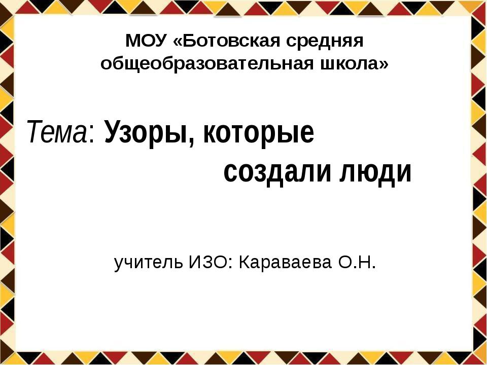Тема: Узоры, которые создали люди учитель ИЗО: Караваева О.Н. МОУ «Ботовская...