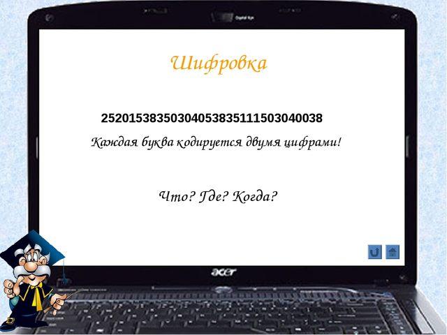 Шифровка Что? Где? Когда? 25201538350304053835111503040038 Каждая буква кодир...