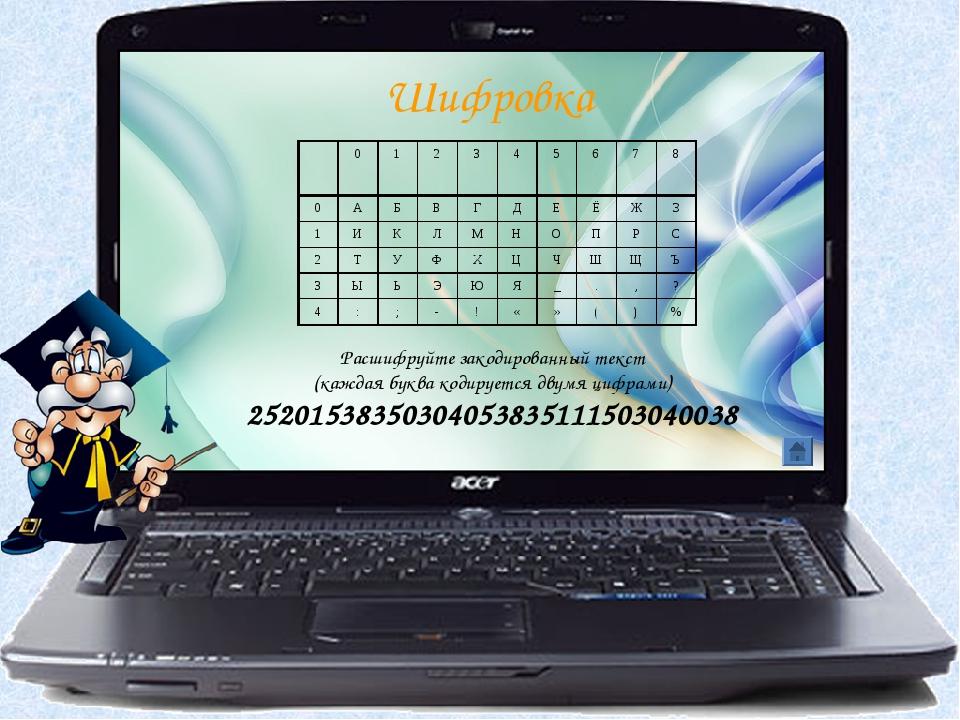Расшифруйте закодированный текст (каждая буква кодируется двумя цифрами) 2520...