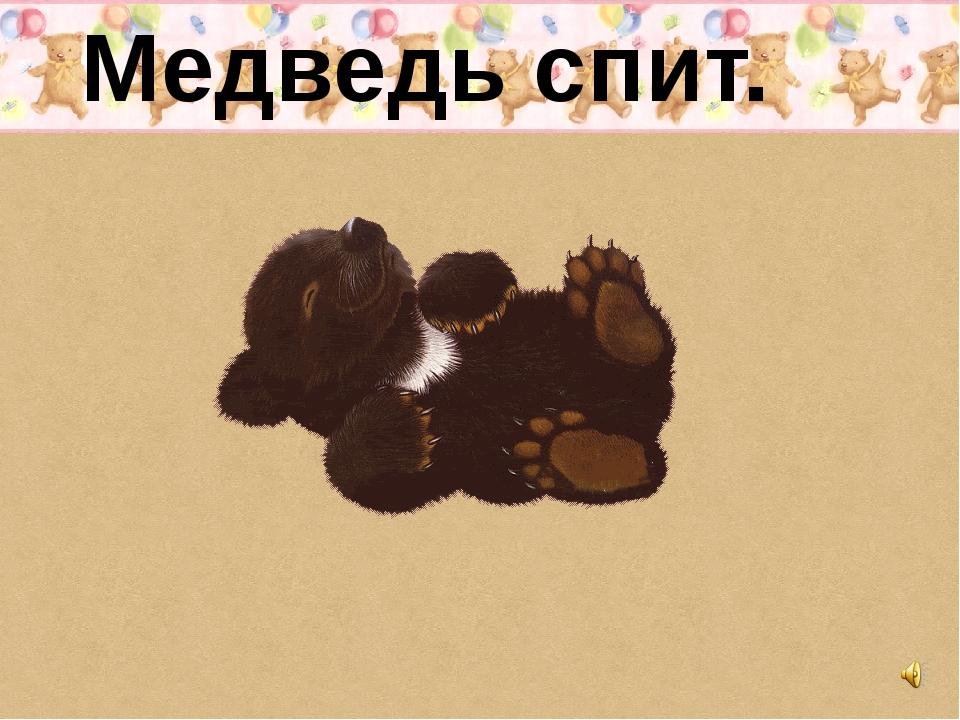 Медведь спит.