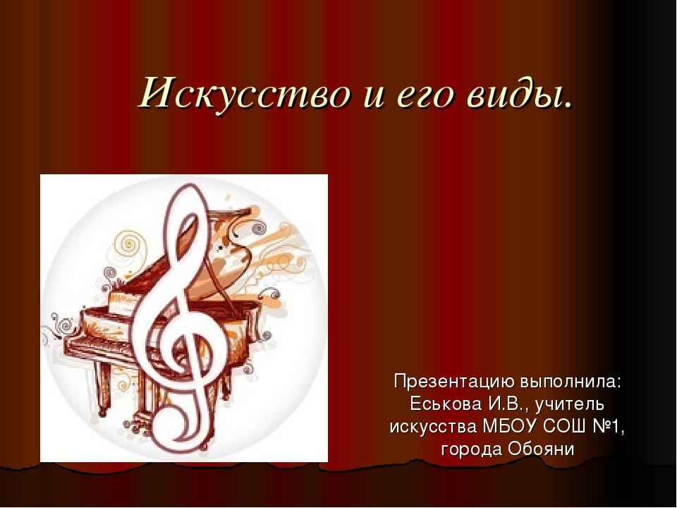 Искусство и его виды. Презентацию выполнила: Еськова И.В., учитель искусства...