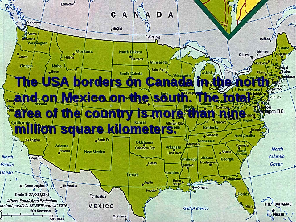 The USA borders on Canada in the north and on Mexico on the south. The total...