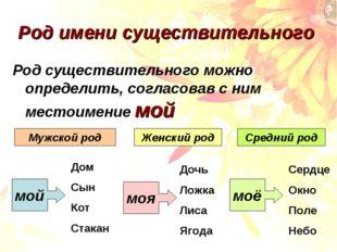 Род имени существительного Род существительного можно определить, согласовав