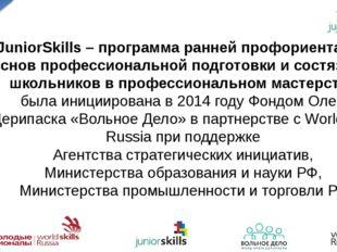 JuniorSkills – программа ранней профориентации, основ профессиональной подгот