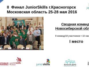 II Финал JuniorSkills г.Красногорск Московская область 25-28 мая 2016 Сводная