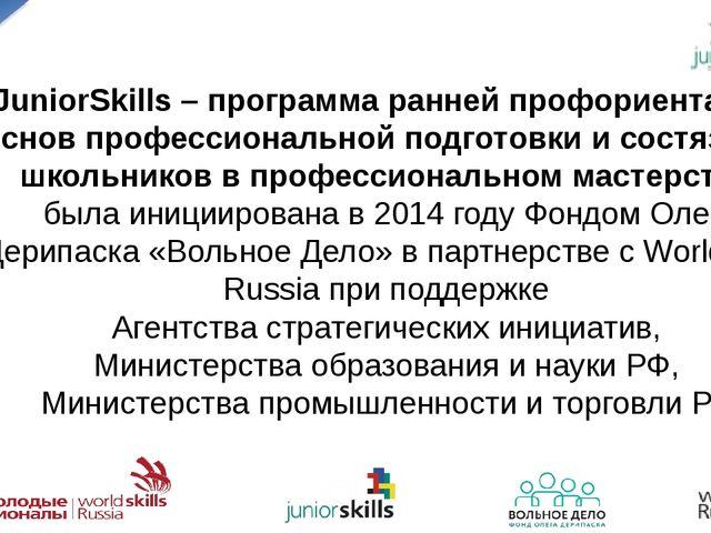 JuniorSkills – программа ранней профориентации, основ профессиональной подгот...