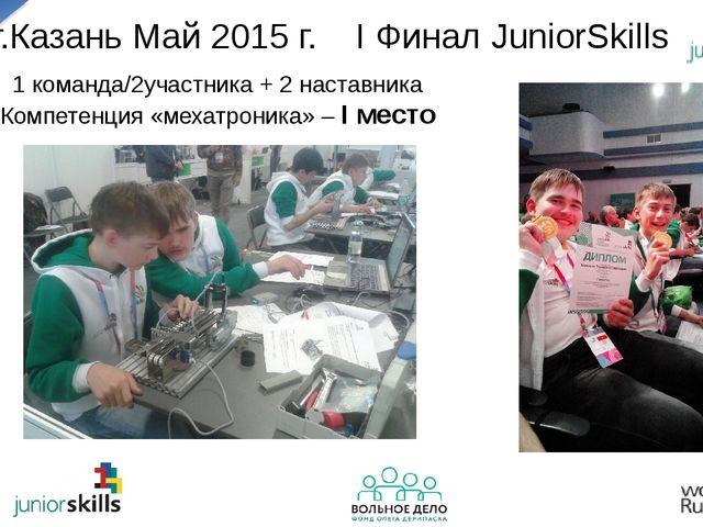 г.Казань Май 2015 г. I Финал JuniorSkills 1 команда/2участника + 2 наставника...