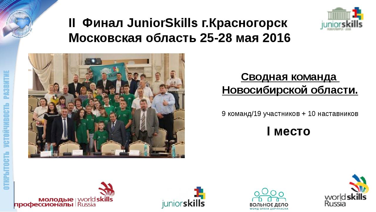 II Финал JuniorSkills г.Красногорск Московская область 25-28 мая 2016 Сводная...