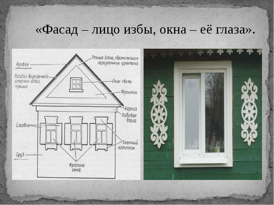 «Фасад – лицо избы, окна – её глаза».