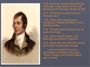 1766 - the family moved to Mount Olifrant. It was here, in the autumn of 1774