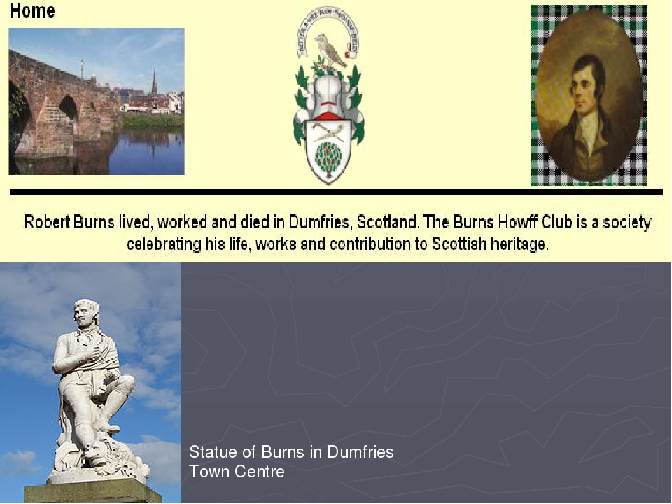 Statue of Burns in Dumfries Town Centre