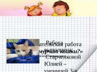 Исследовательская работа «Почему мурчат кошки?» (Секция естественных наук)