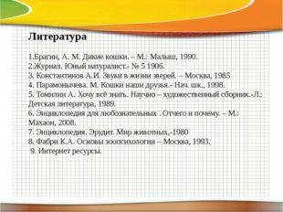 Литература 1.Брагин, А. М. Дикие кошки. – М.: Малыш, 1990. 2.Журнал. Юный на
