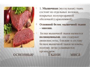 основные Ткани мяса 1. Мышечная (мускульная) ткань состоит из отдельных воло