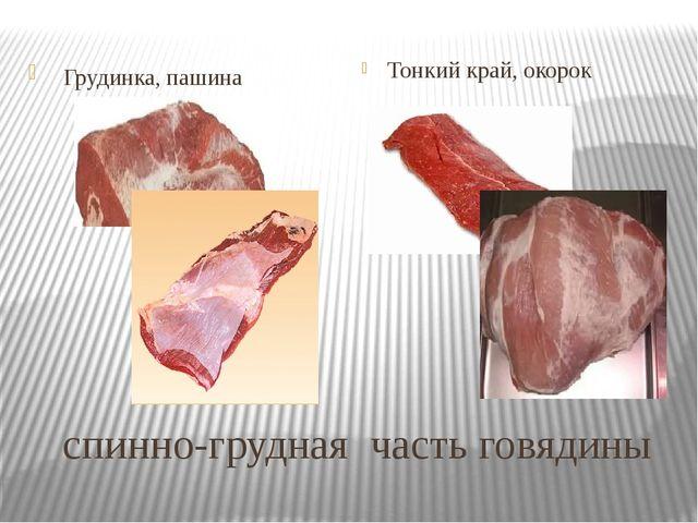спинно-грудная часть говядины Грудинка, пашина Тонкий край, окорок