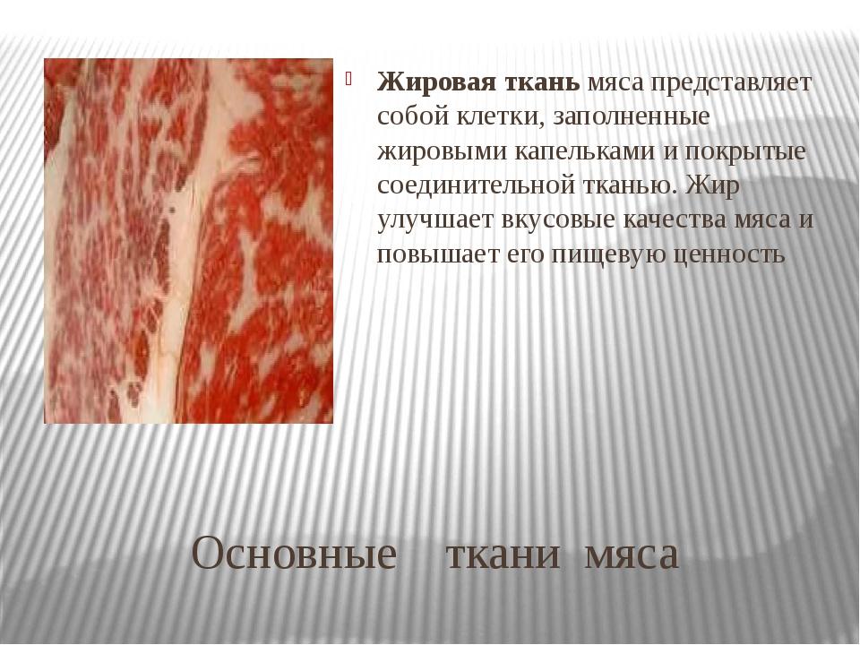 Основные ткани мяса Жировая ткань мяса представляет собой клетки, заполненные...