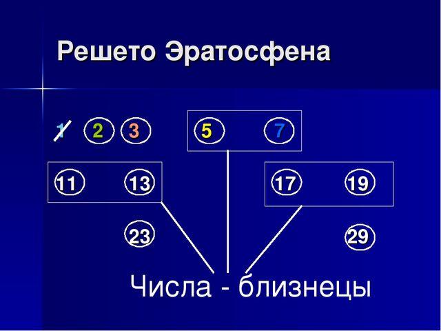 Решето Эратосфена Числа - близнецы 12357 11131719 23...