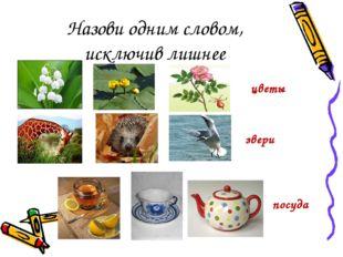 Назови одним словом, исключив лишнее цветы звери посуда