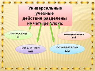 Универсальные учебные действия разделены на четыре блока: личностный регуляти