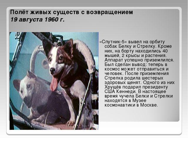 Полёт живых существ с возвращением 19 августа 1960 г. «Спутник-5» вывел на ор...