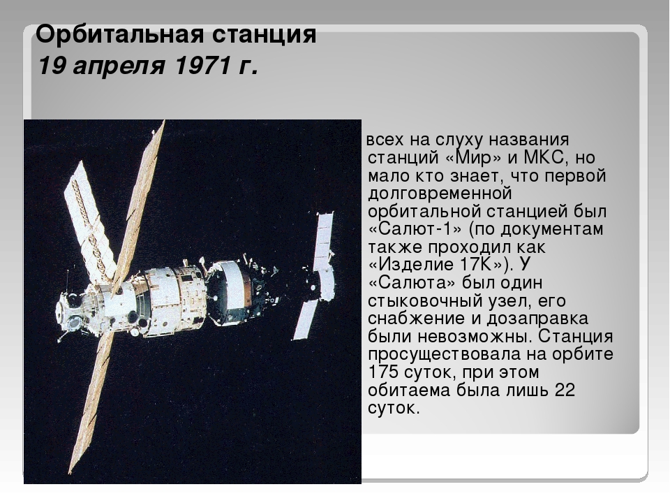 Орбитальная станция 19 апреля 1971 г. У всех на слуху названия станций «Мир»...
