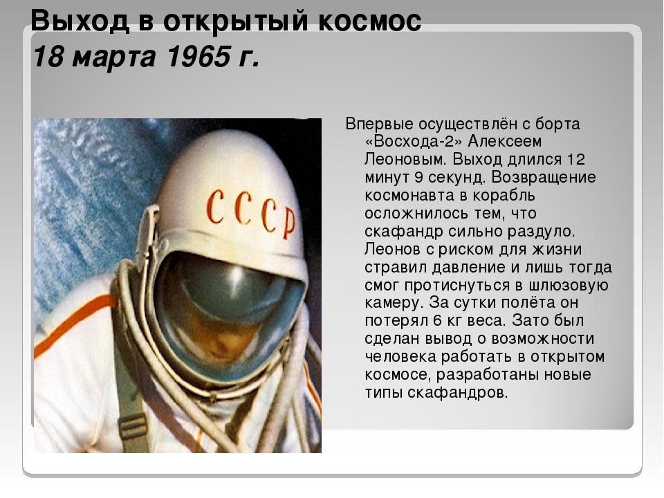 Выход в открытый космос 18 марта 1965 г. Впервые осуществлён с борта «Восхода...