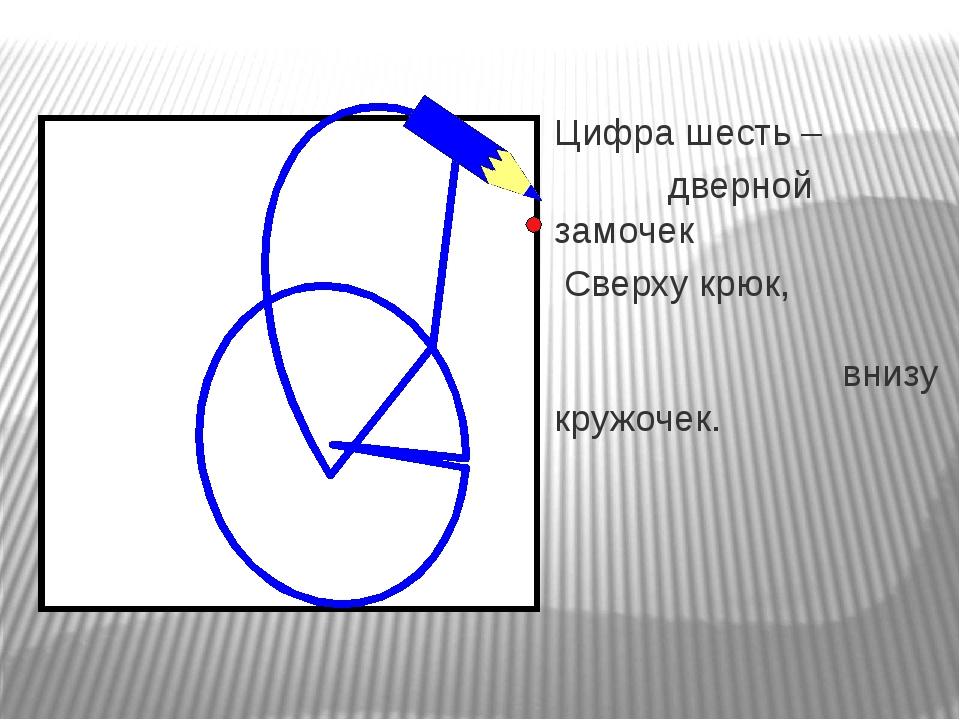 Цифра шесть – дверной замочек Сверху крюк, внизу кружочек.