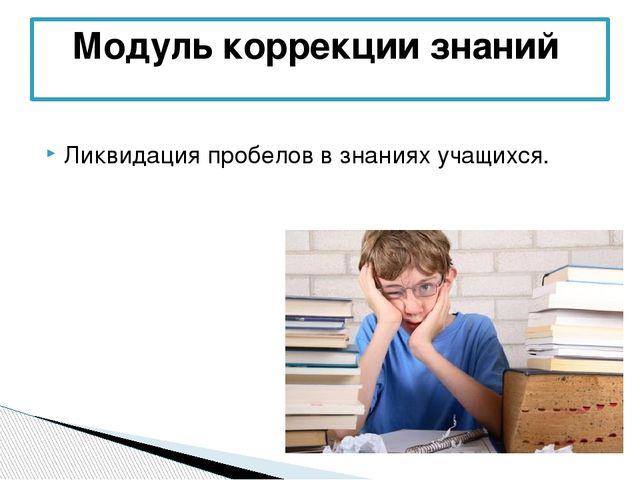 Ликвидация пробелов в знаниях учащихся. Модуль коррекции знаний