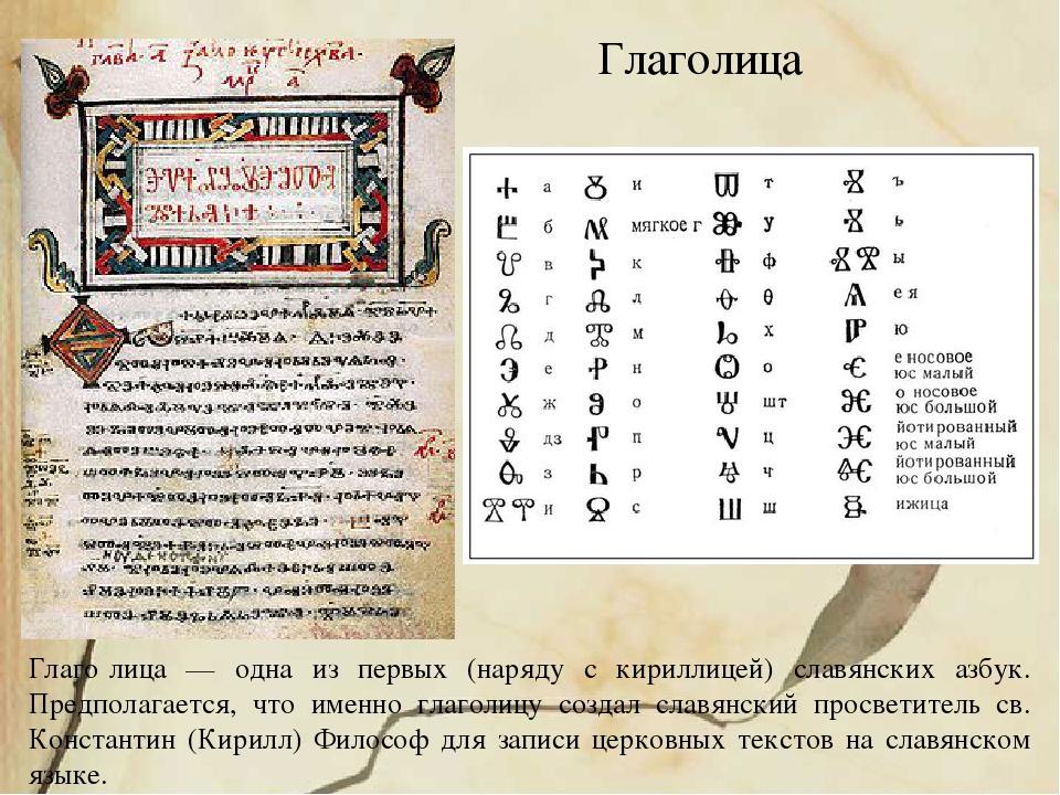 Глаго́лица — одна из первых (наряду с кириллицей) славянских азбук. Предпола...