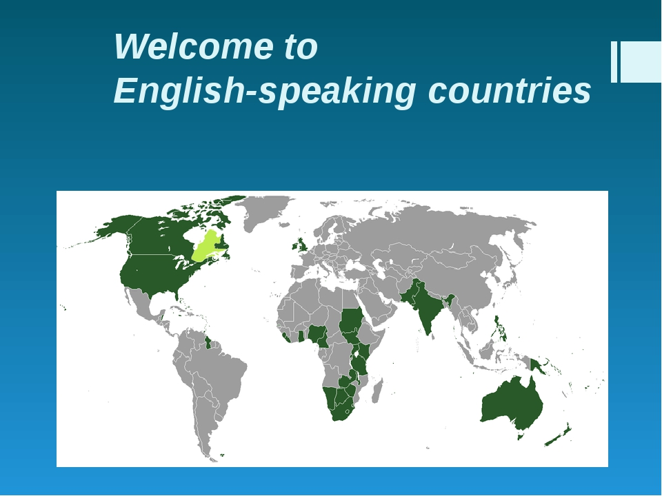 Welcome to English-speaking countries