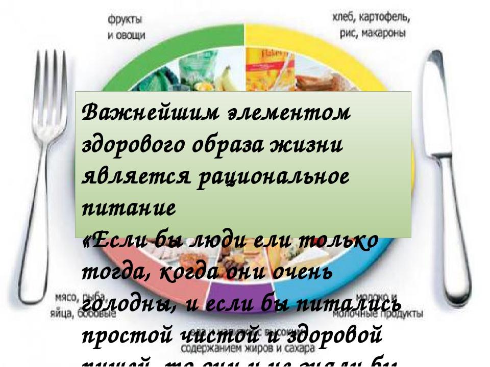Важнейшим элементом здорового образа жизни является рациональное питание «Есл...