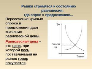 Рынки стремятся к состоянию равновесия, где спрос = предложению... Пересечени